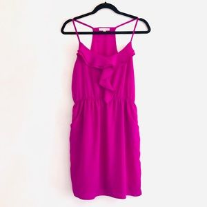 Lush Fuchsia Ruffle Racerback Sleeveless Dress M